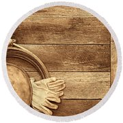 Cowboy Gear On The Floor Round Beach Towel by American West Legend By Olivier Le Queinec