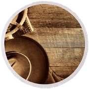 Cowboy Hat And Gear On Wood Round Beach Towel