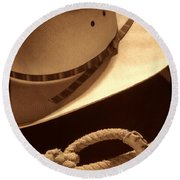 Cowboy Hat And Lasso Round Beach Towel