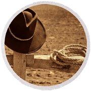Cowboy Hat And Rope On A Fence Round Beach Towel