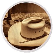 Cowboy Hat On Barn Floor Round Beach Towel
