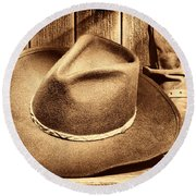 Cowboy Hat On Floor Round Beach Towel