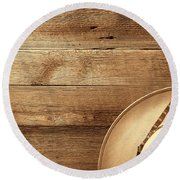 Cowboy Hat On Wood Table Round Beach Towel