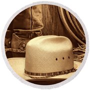 Cowboy Hat With Western Boots Round Beach Towel