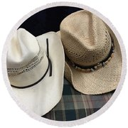 Cowboy Hats Round Beach Towel