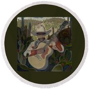 Cowboy In The Cactus Round Beach Towel