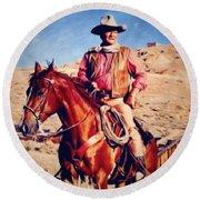 Cowboy John Wayne Round Beach Towel