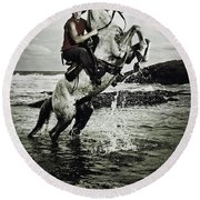Cowboy On The Rear Up Horse In The River Round Beach Towel