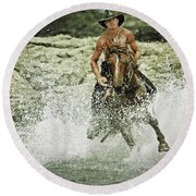 Cowboy Riding Horse Across The River Round Beach Towel