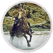 Cowboy Riding In The Sea Round Beach Towel