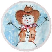 Cowboy Snowman Watercolor Painting By Kmcelwaine Round Beach Towel