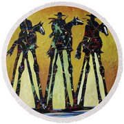 Cowboy Sundown Round Beach Towel