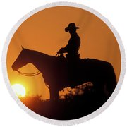 Cowboy Sunset Silhouette Round Beach Towel