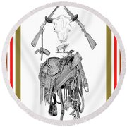 Round Beach Towel featuring the drawing Cowboy Tribute by Jack Pumphrey