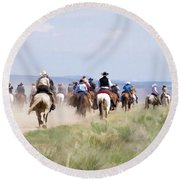 Cowboys And Cowgirls Riding Horses At The Sombrero Horse Drive Round Beach Towel