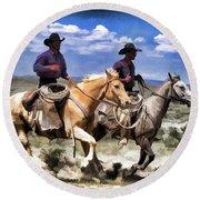 Cowboys On Horseback Riding The Range Round Beach Towel