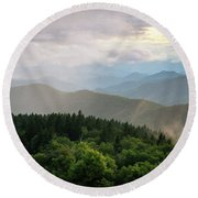 Cowee Mountain Sunset 4 Round Beach Towel by Serge Skiba