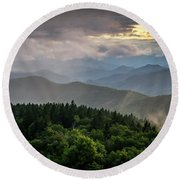 Cowee Mountain Sunset Round Beach Towel