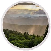 Cowee Mountains Sunset 2 Round Beach Towel