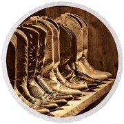 Cowgirl Boots Collection Round Beach Towel by American West Legend By Olivier Le Queinec