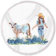 Cowgirl Calf In The Bluebonnets Pe005 Round Beach Towel
