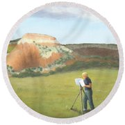 Cowgirl Easel Round Beach Towel
