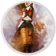 Cowgirl Round Beach Towel