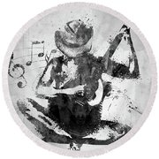 Cowgirl In The Sand White And Black Round Beach Towel