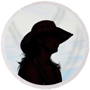 Cowgirl In The Sky Round Beach Towel