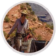 Cowgirl Leading A Mule Train On The South Kaibab Trail Round Beach Towel