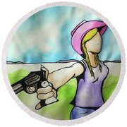 Cowgirl With Gun Round Beach Towel