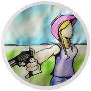 Cowgirl With Gun Round Beach Towel by Loretta Nash