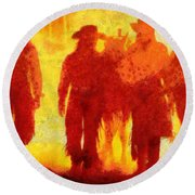 Cowpeople Round Beach Towel
