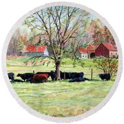 Cows Grazing In One Field  Round Beach Towel