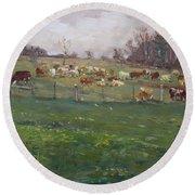Cows In A Farm, Georgetown  Round Beach Towel