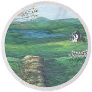 Cows In Field Round Beach Towel