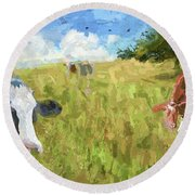 Cows In Field, Ver 2 Round Beach Towel