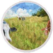 Cows In Field, Ver 2 Round Beach Towel