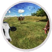 Cows In Field, Ver 3 Round Beach Towel