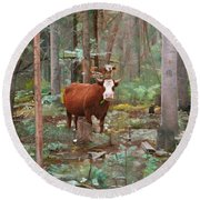 Round Beach Towel featuring the painting Cows In The Woods by Joshua Martin