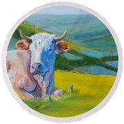 Cows Lying Down In Devon Hills Round Beach Towel