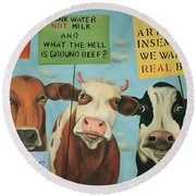 Cows On Strike Round Beach Towel by Leah Saulnier The Painting Maniac