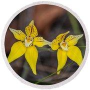 Cowslip Orchid Australia Round Beach Towel