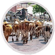 Cowtown Stockyards Round Beach Towel