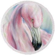Coy Flamingo Round Beach Towel
