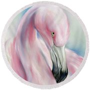 Coy Flamingo Round Beach Towel