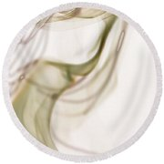 Coy Lady In Hat Swirls Round Beach Towel by Vicki Ferrari