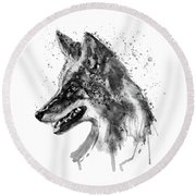 Round Beach Towel featuring the mixed media Coyote Head Black And White by Marian Voicu