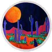 Round Beach Towel featuring the painting Coyote Moon by Jeanette French