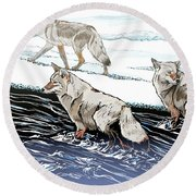 Coyotes At The Confluence Redux Round Beach Towel